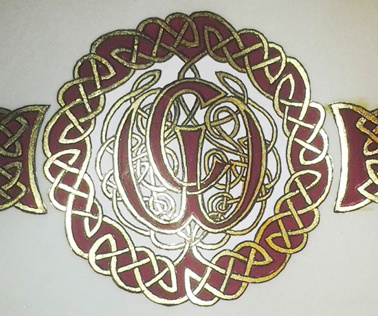 Detail from a wedding gift with Interlaced Initials in a Celtic Style
