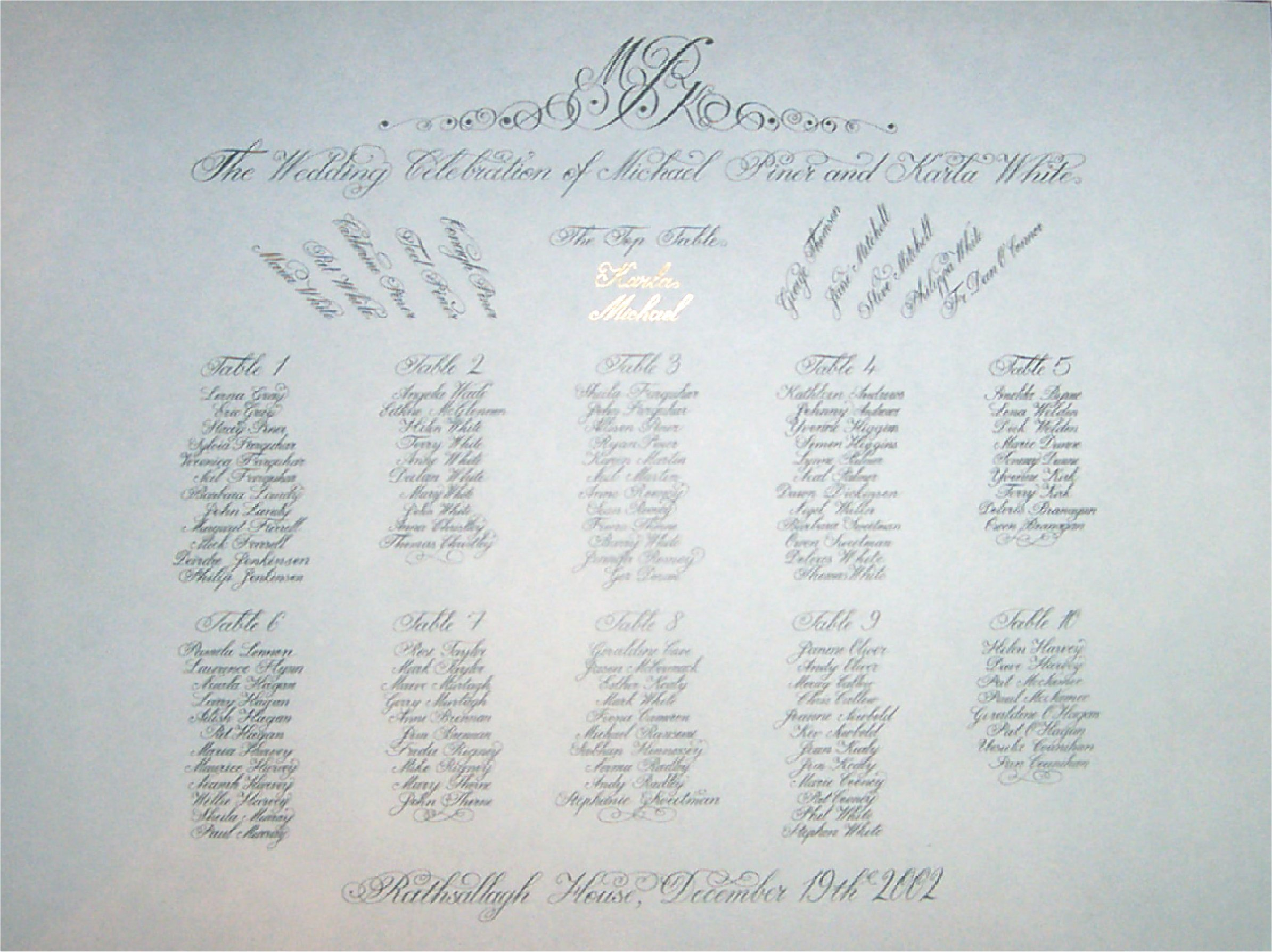 A copperplate script seating plan with a flourished title and the bride and groom highlighted with gold leaf