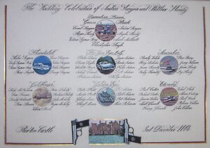 50 x 70cm on vegetable parchment paper.  This seating plan features table named after Bond Films.  Each table has a painting of an iconic element from the film.  The reception venue is pictured at the bottom supported by Bond's Walther PPK.  The script is copperplate