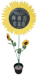 Something a little different, this seating plan is written onto a circular piece of black cartridge card with white gouache.  The black card was then set into yellow cartridge card cut into a sunflower petal shape.  This was mounted onto a green garden stick and set into a vase with some plastic sunflowers to be a freestanding seating plan at the entrance to the reception venue.