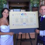 Bride and Groom with the seating plan.