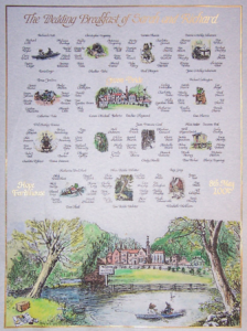 This beautiful Wind in the Willows themed seating plan has tables named after characters and scenes from the popular children's book.  The painting are based on the original book illustrations. The top table painting is of the reception venue painted in the same style.  The illustration at the bottom is a montage of illustrations from the book spliced together with the painting of the venue added in the centre.  The script is copperplate and the title  script italic written in gold leaf
