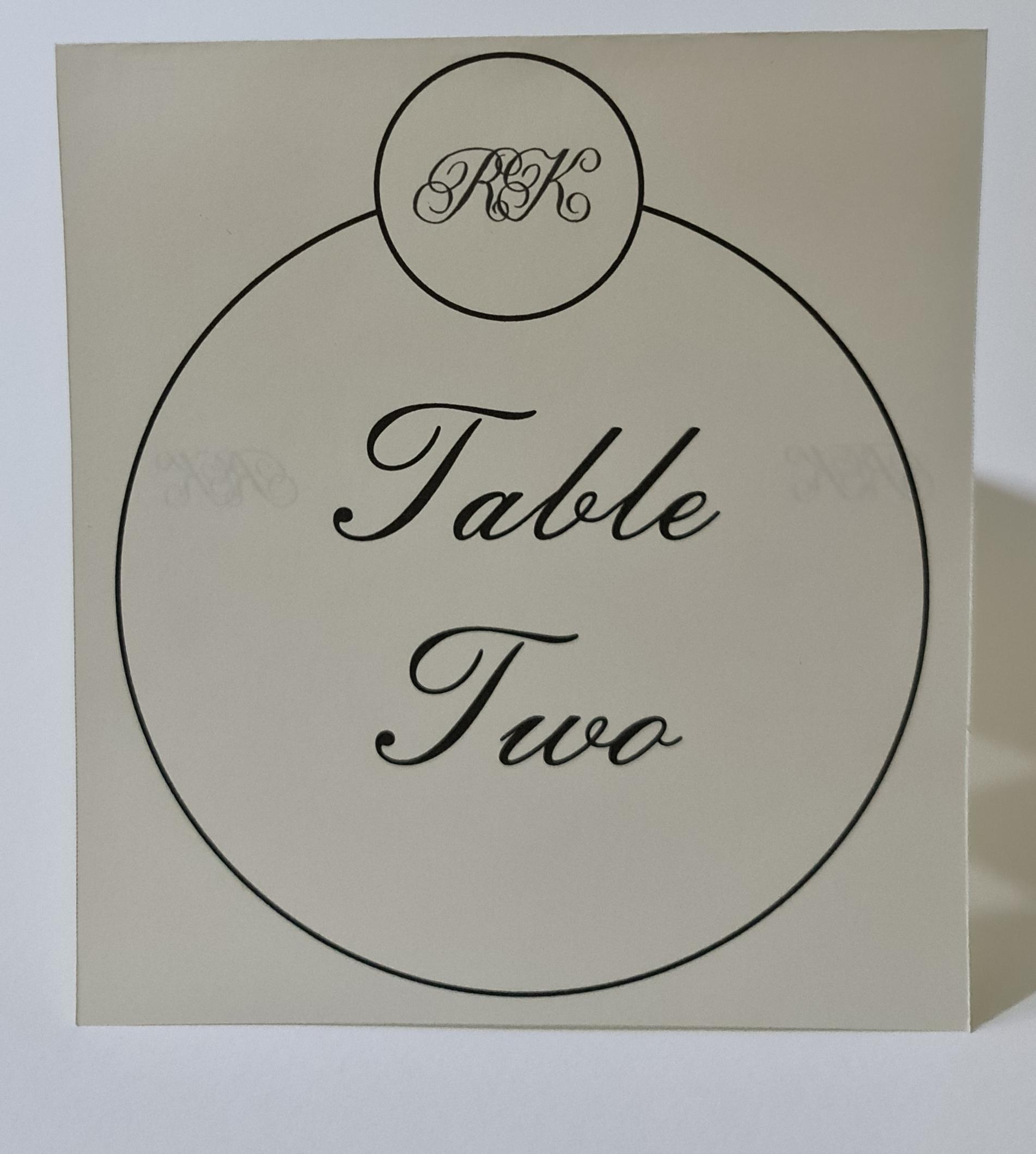 Kayleigh Table Card